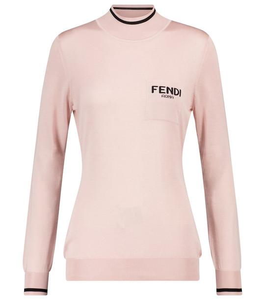 Fendi Logo silk turtleneck sweater in pink