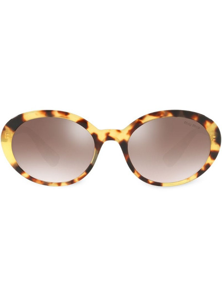 Miu Miu Eyewear oval tortoiseshell sunglasses in brown