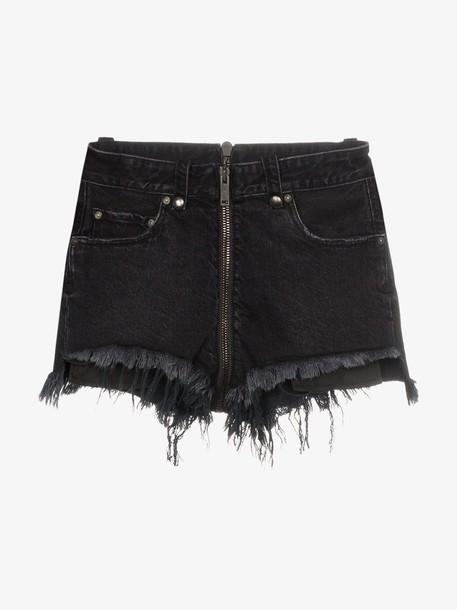 Unravel Project zip-up distressed hem visible pocket denim shorts