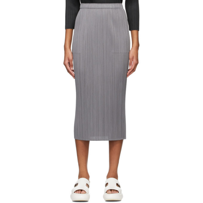 Pleats Please Issey Miyake Grey Basics Skirt in gray