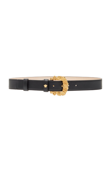 Versace Western Leather Buckle Belt in black