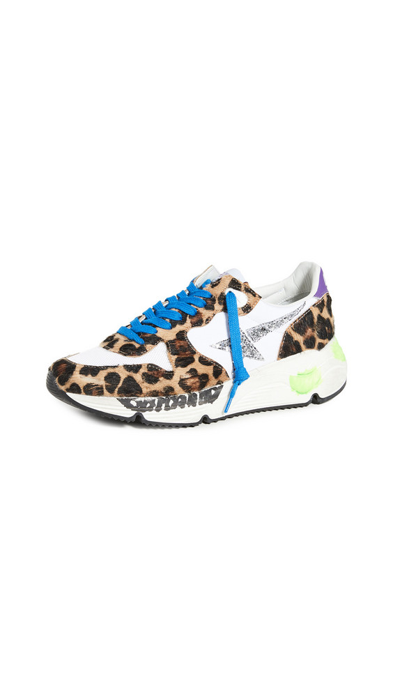 Golden Goose Running Sole Sneakers in silver / leopard