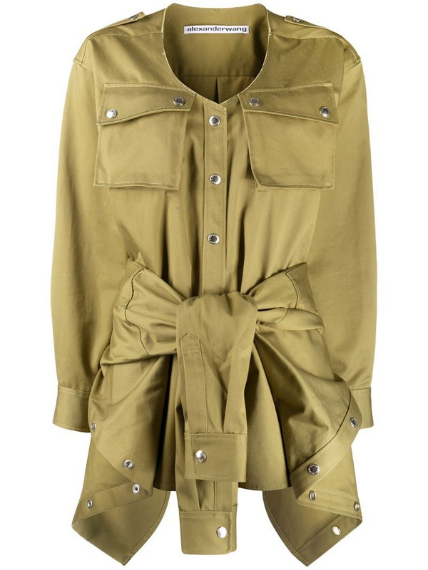 Alexander Wang tie-waist cotton playsuit in green