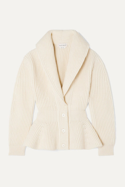 Alexander McQueen - Ribbed Wool And Cashmere-blend Peplum Cardigan - Ivory