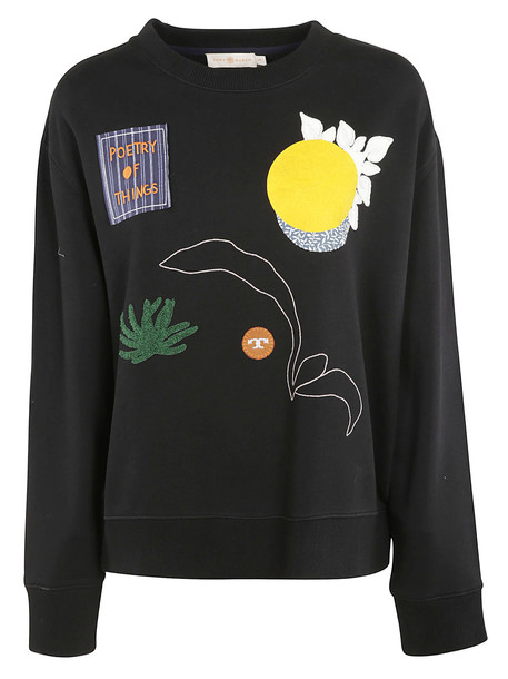 Tory Burch Embroidered Sweatshirt in black