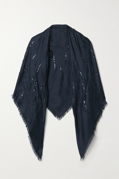 Loro Piana - Fringed Sequin-embellished Silk Scarf - Midnight blue