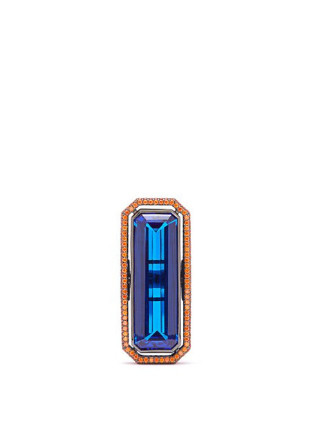 Lynn Ban - Sapphire & Rhodium Plated Ring - Womens - Blue