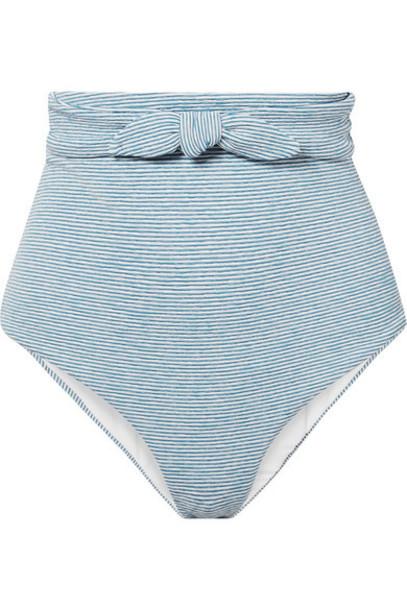 Mara Hoffman - Jay Knotted Striped Jacquard-knit Bikini Briefs - Light blue
