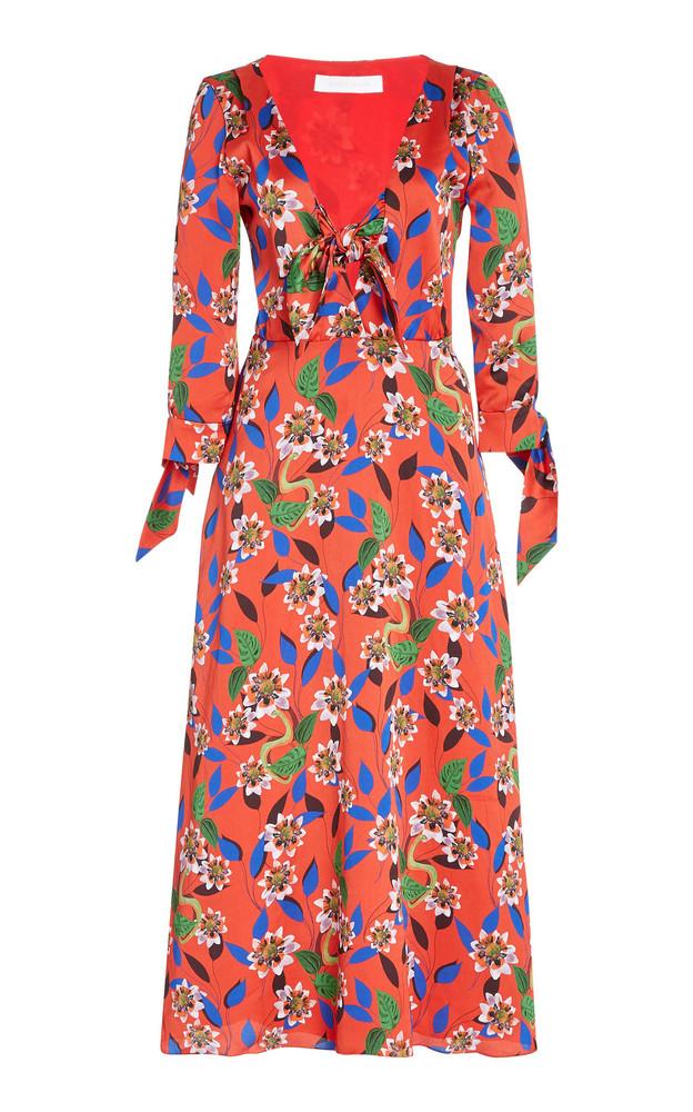 Borgo De Nor Maliou Crepe de Chine Midi Dress in red