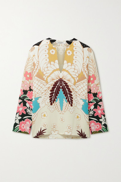 Valentino - Floral-print Silk-crepe Blouse - White