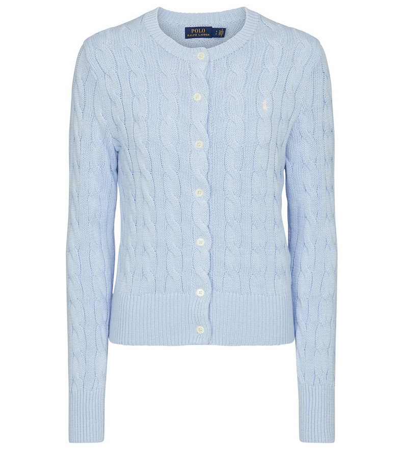 Polo Ralph Lauren Cable-knit cotton cardigan in blue