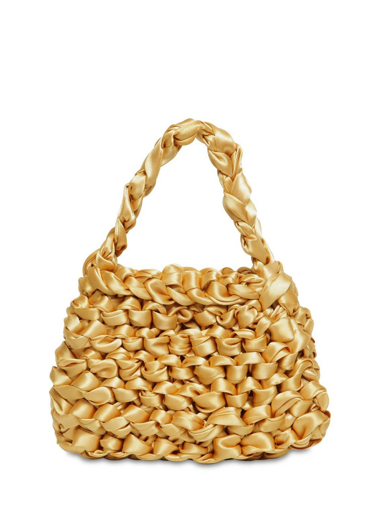 MIISTA Theodore Mini Knotted Satin Bag in gold
