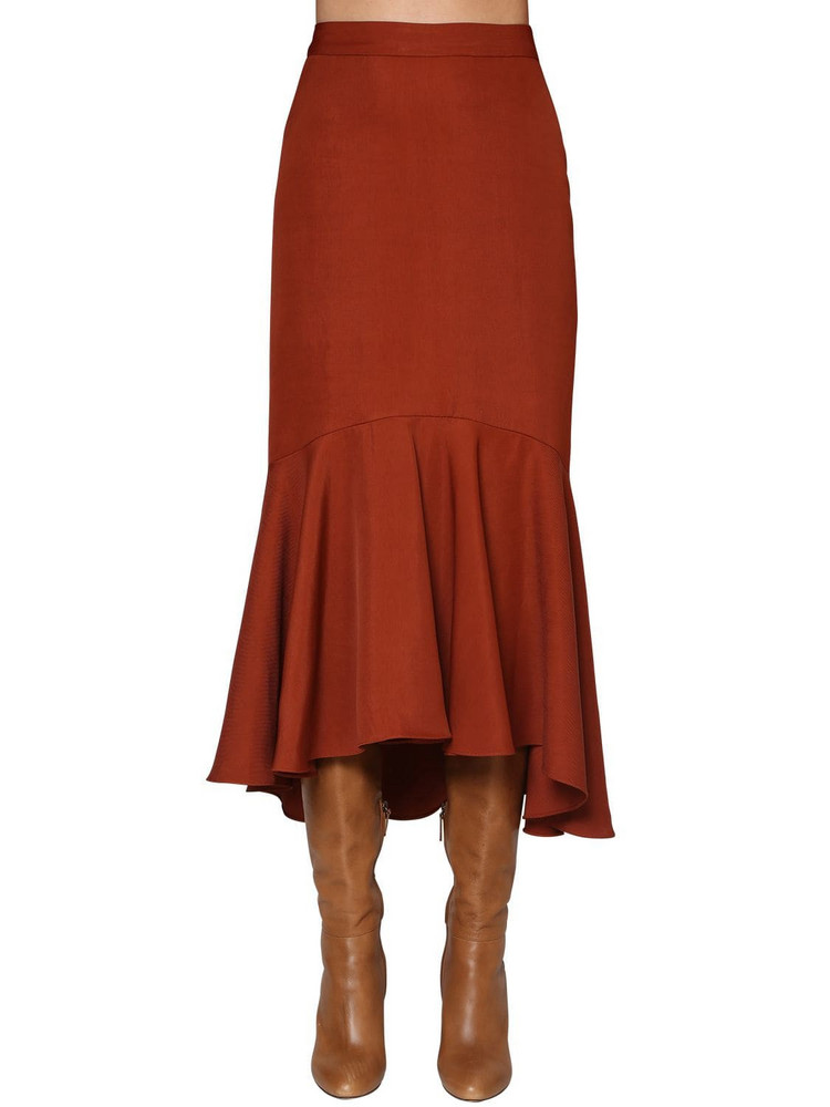 JOHANNA ORTIZ Flared Cotton Drilled Midi Skirt in red