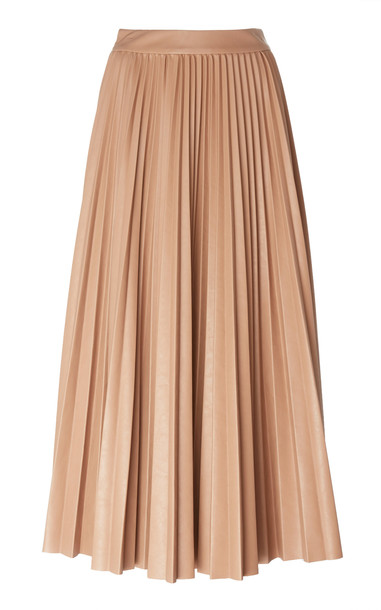 Huishan Zhang Phoebe Pleated Georgette Maxi Skirt in neutral