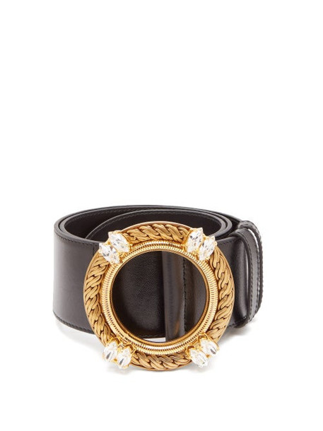 Miu Miu - Crystal Buckle Leather Belt - Womens - Black
