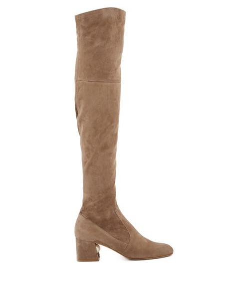 Nicholas Kirkwood - Miri Faux Pearl-embellished Suede Knee-high Boots - Womens - Khaki