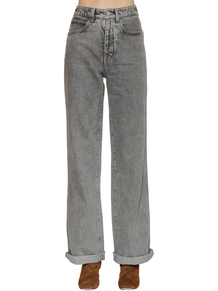 ALBERTA FERRETTI High Waist Cotton Denim Jeans in grey