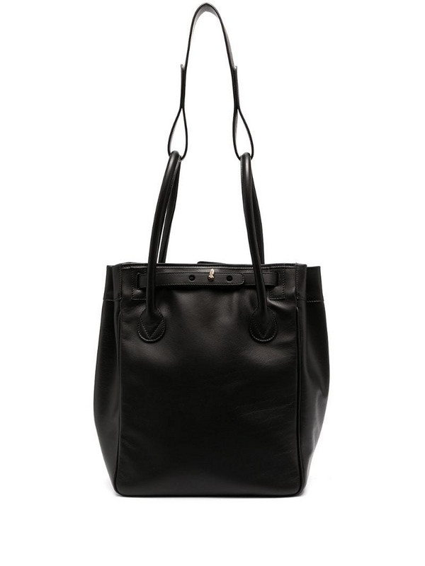 Rodo leather layer handle tote bag in black