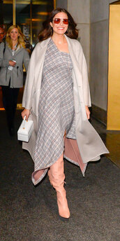 dress,mandy moore,celebrity,asymmetrical,asymmetrical dress,grey,coat,boots