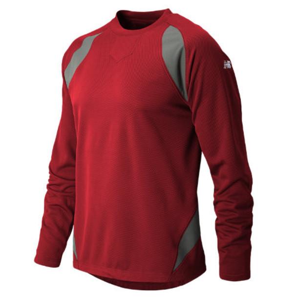 New Balance 9510 Men's Performance Fleece Baseball Pullover - Team Red, Athletic Grey (TMUJ9510TRE)