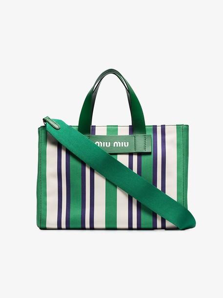 Miu Miu striped logo tote bag in green