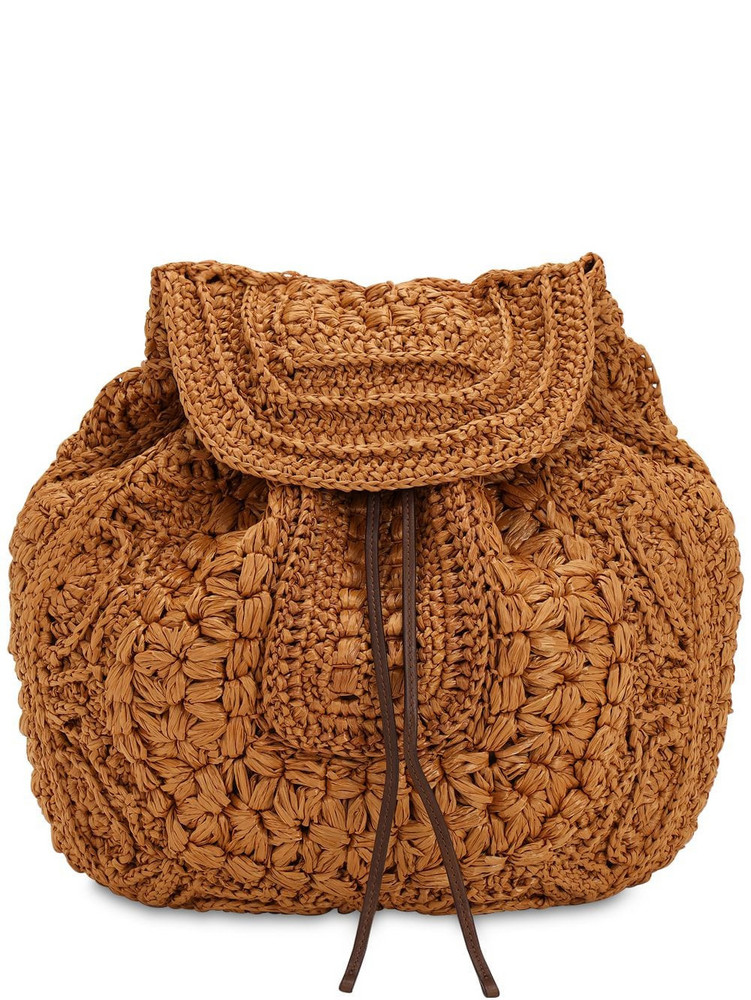 ALBERTA FERRETTI Viscose Crochet & Leather Backpack in beige