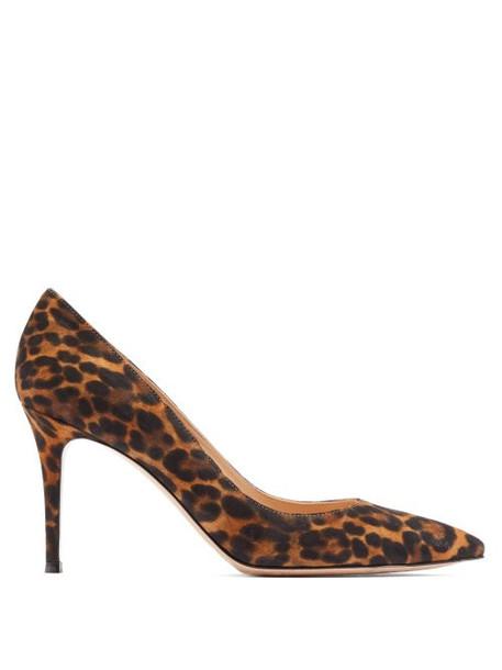 Gianvito Rossi - Gianvito 85 Point Toe Suede Pumps - Womens - Leopard