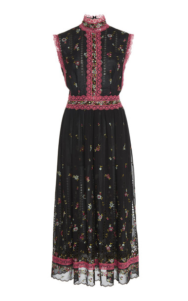 Costarellos Lace-Trimmed Floral-Embroidered Chiffon Midi Dress Size: 3 in black