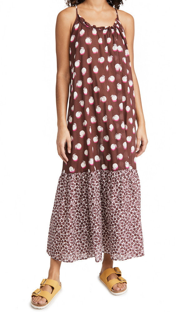 Stella McCartney Ruched Oranges Print Long Dress in burgundy