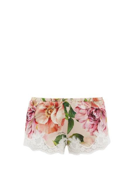 Dolce & Gabbana - Lace-trim Floral Silk-blend Pyjama Shorts - Womens - Pink Print
