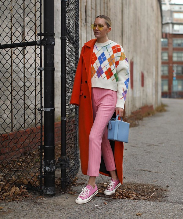 sweater cropped sweater pink pants striped pants sneakers converse orange coat boxed bag