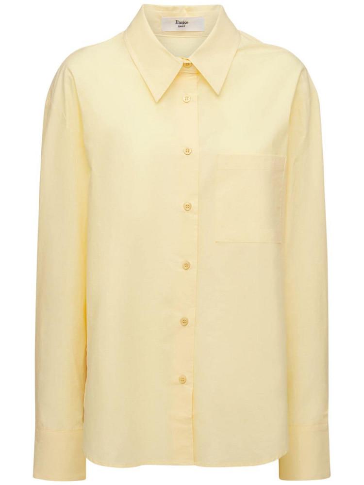 THE FRANKIE SHOP Lui Organic Cotton Poplin Shirt in yellow
