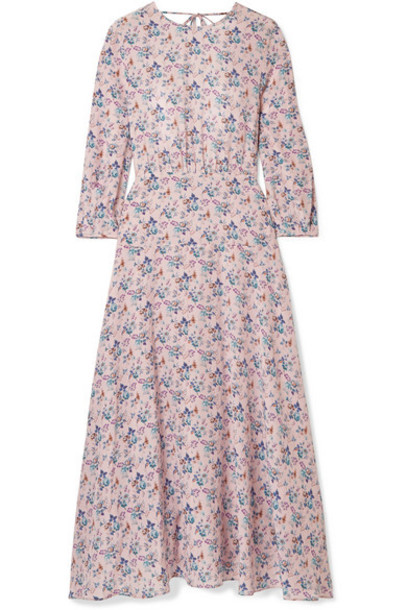 Les Rêveries - Floral-print Silk Crepe De Chine Midi Dress - Pastel pink