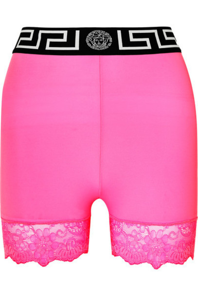Versace - Lace-trimmed Stretch-jersey Shorts - Pink