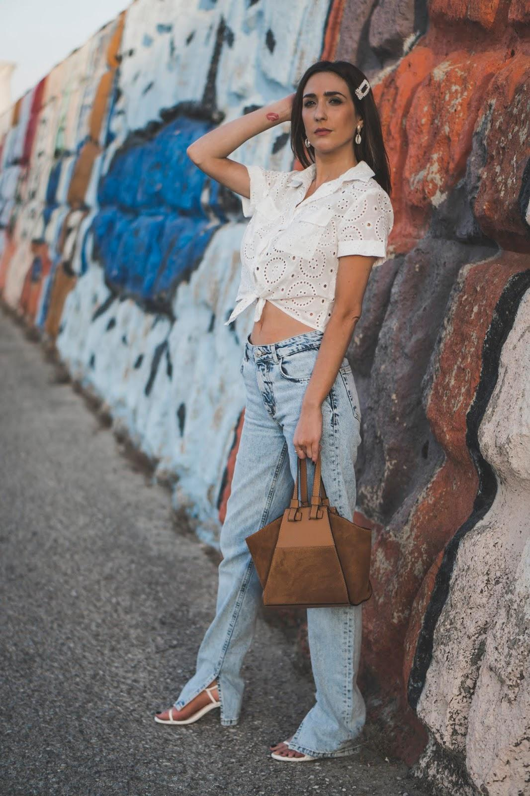 shoes and basics blogger blouse jeans bag shoes white shirt sandals brown bag summer outfits