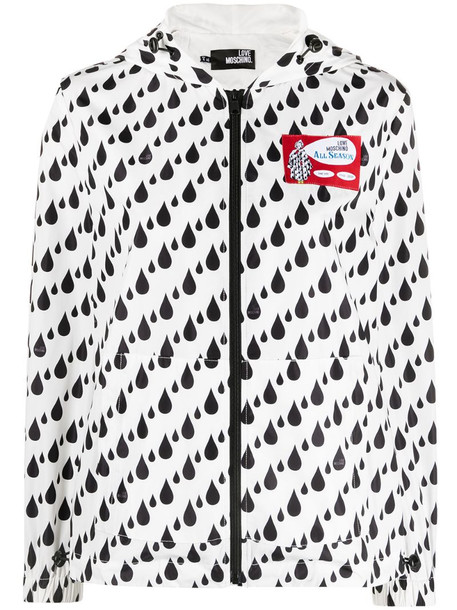 Love Moschino hooded zip-up jacket in white