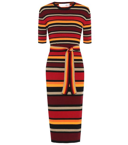 Victoria Victoria Beckham Striped wool-blend midi dress