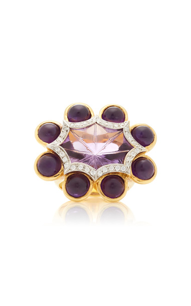 Tony Duquette One of a Kind 18K Yellow Gold, Amethyst and Diamond Ring in purple