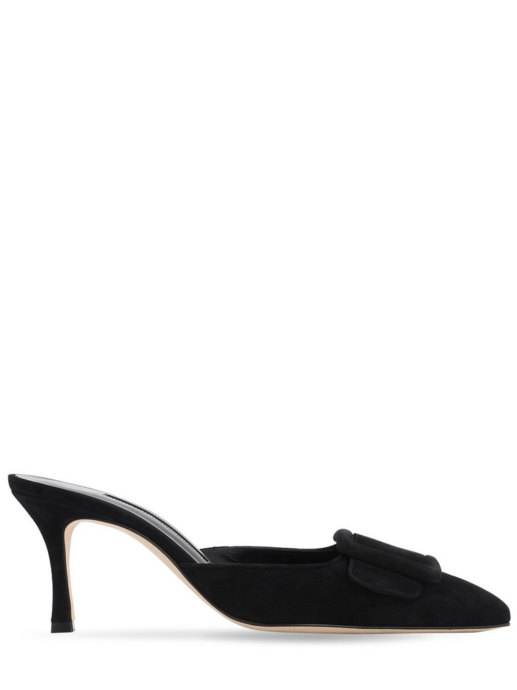 MANOLO BLAHNIK 70mm Maysale Suede Mules in black