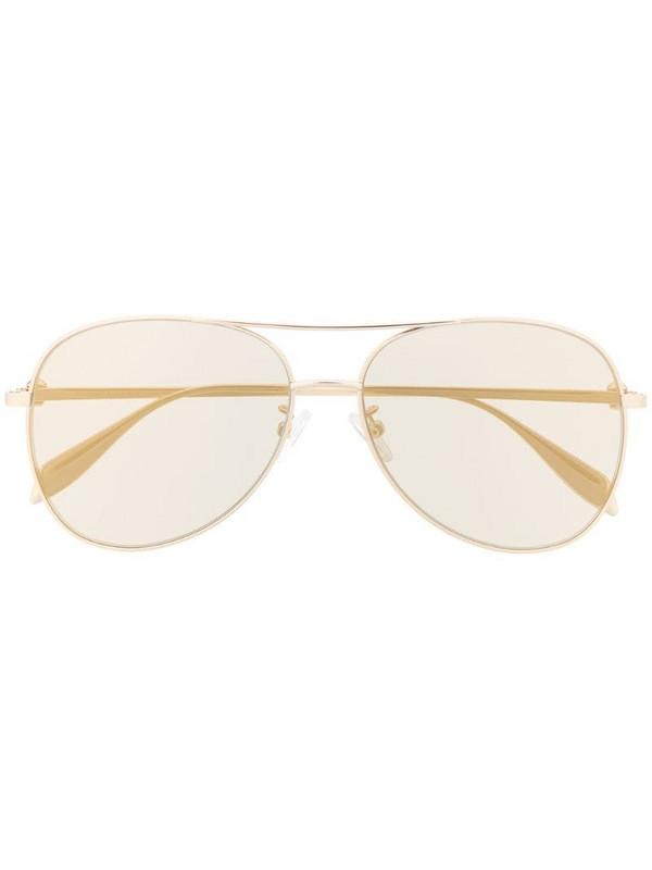 Alexander McQueen Eyewear tinted aviator-frame sunglasses in gold