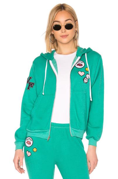 Wildfox Couture Regan Zip Hoodie in green