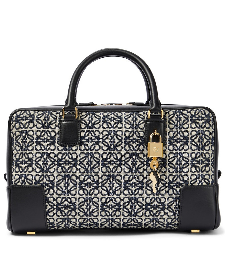 LOEWE Amazona 28 jacquard and leather tote in blue