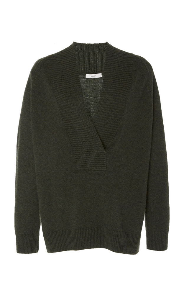 Vince Ribbed Wool-Cashmere Top in green