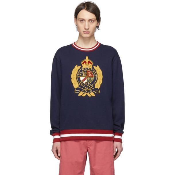 Polo Ralph Lauren Navy Fleece Graphic Sweatshirt