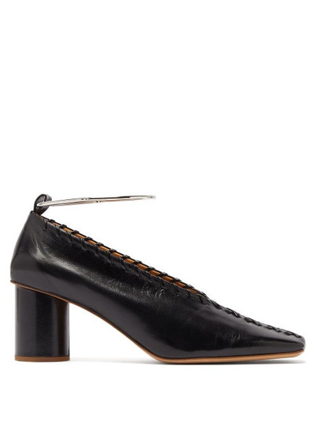 Jil Sander - Whipstitched Square Toe Leather Pumps - Womens - Black