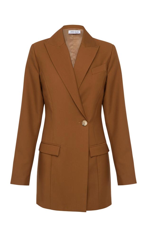 Anna Quan Sienna Crepe Blazer Size: 6 in brown