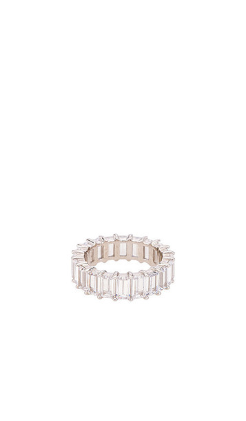 The M Jewelers NY The Emerald Cut Pave Ring in Metallic Silver
