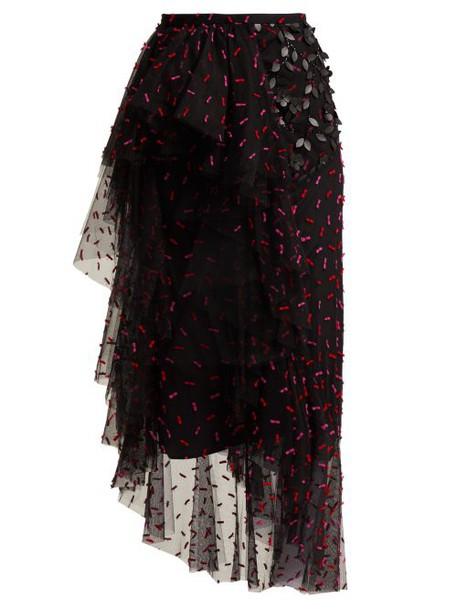 Rodarte - Asymmetric Floral Appliqué Tulle Skirt - Womens - Black Multi