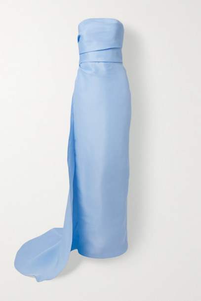 Monique Lhuillier - Strapless Draped Silk-gazar Gown - Light blue