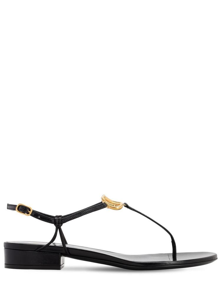 VALENTINO GARAVANI 20mm Vlogo Leather Thong Sandals in black